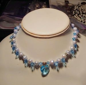 Handmade Pale Blue Pearl & Crystal Heart Necklace